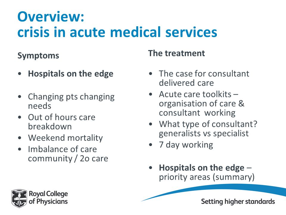 Overview: crisis in acute medical services Symptoms Hospitals on the edge Changing pts changing needs Out of hours care breakdown Weekend mortality Im