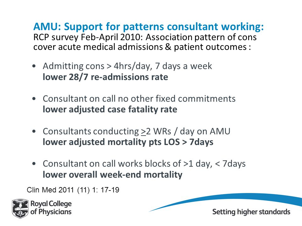 AMU: Support for patterns consultant working: RCP survey Feb-April 2010: Association pattern of cons cover acute medical admissions & patient outcomes