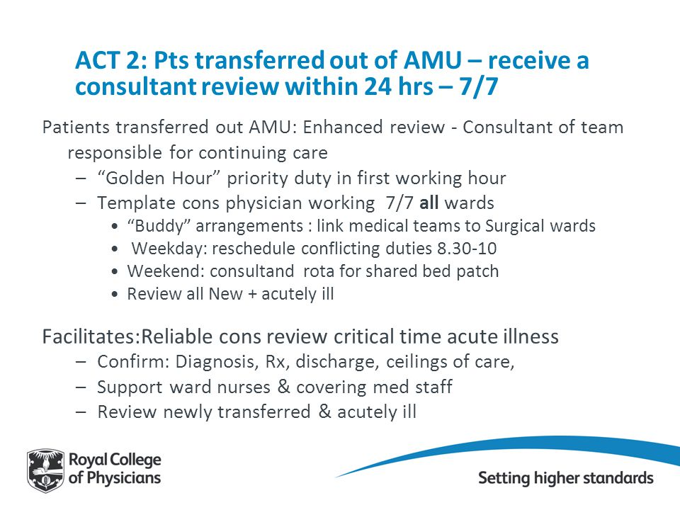 ACT 2: Pts transferred out of AMU – receive a consultant review within 24 hrs – 7/7 Patients transferred out AMU: Enhanced review - Consultant of team