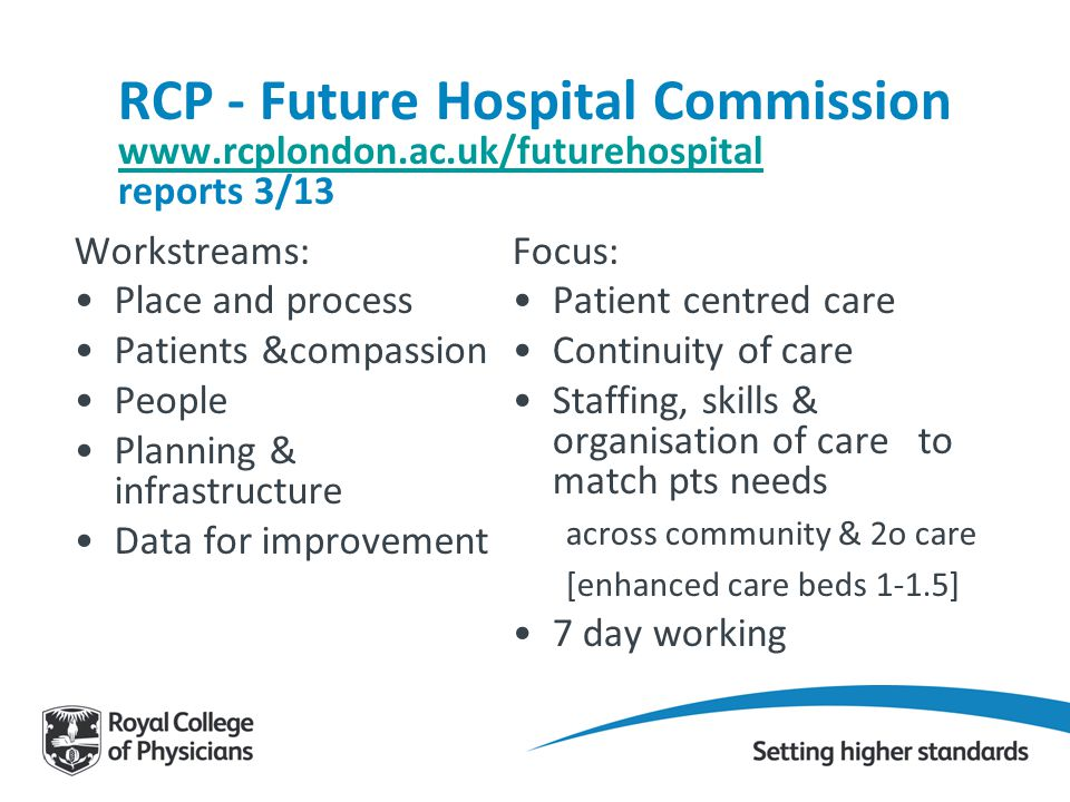 RCP - Future Hospital Commission www.rcplondon.ac.uk/futurehospital reports 3/13 www.rcplondon.ac.uk/futurehospital Workstreams: Place and process Pat