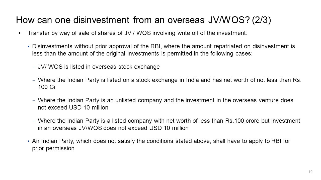 How can one disinvestment from an overseas JV/WOS? (2/3) Transfer by way of sale of shares of JV / WOS involving write off of the investment: Disinves