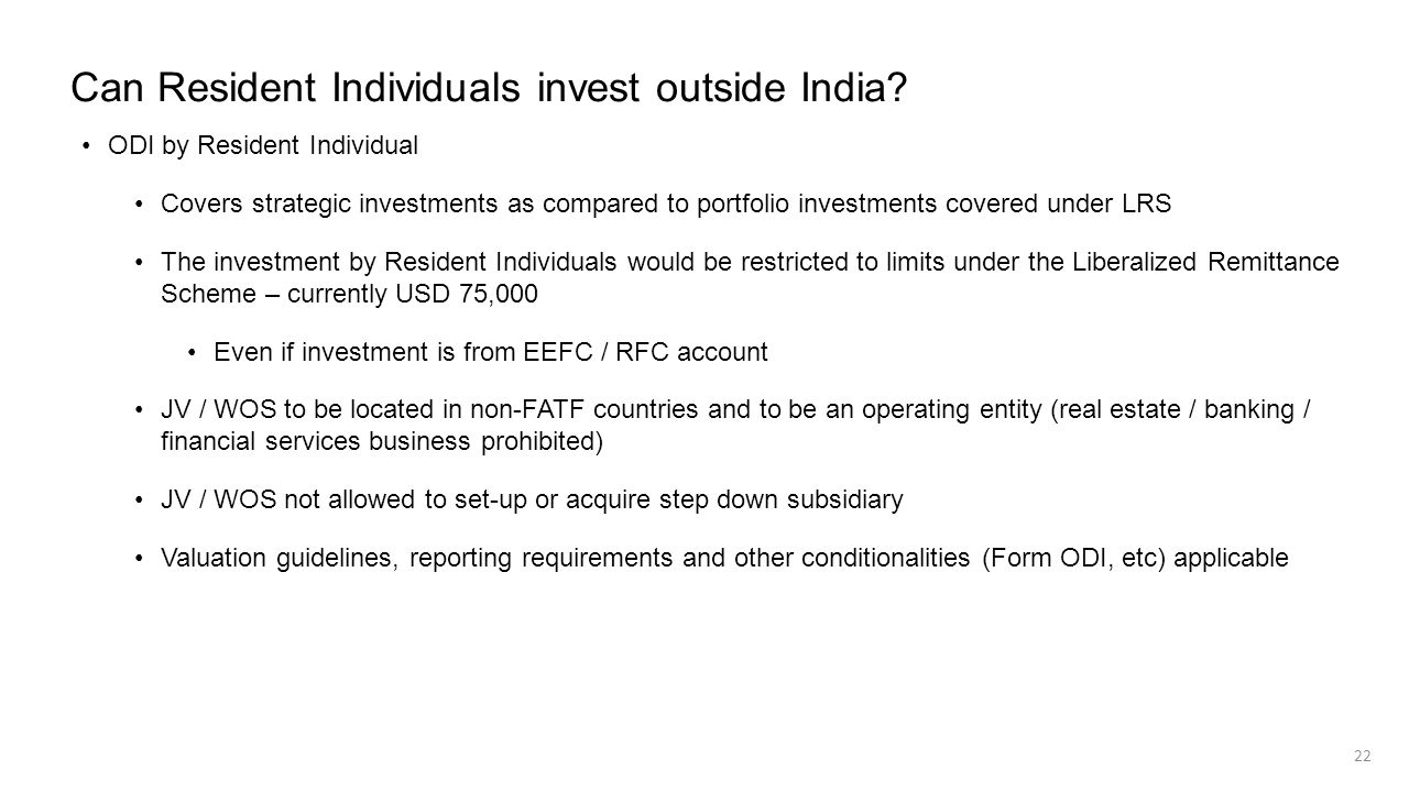 Can Resident Individuals invest outside India? ODI by Resident Individual Covers strategic investments as compared to portfolio investments covered un