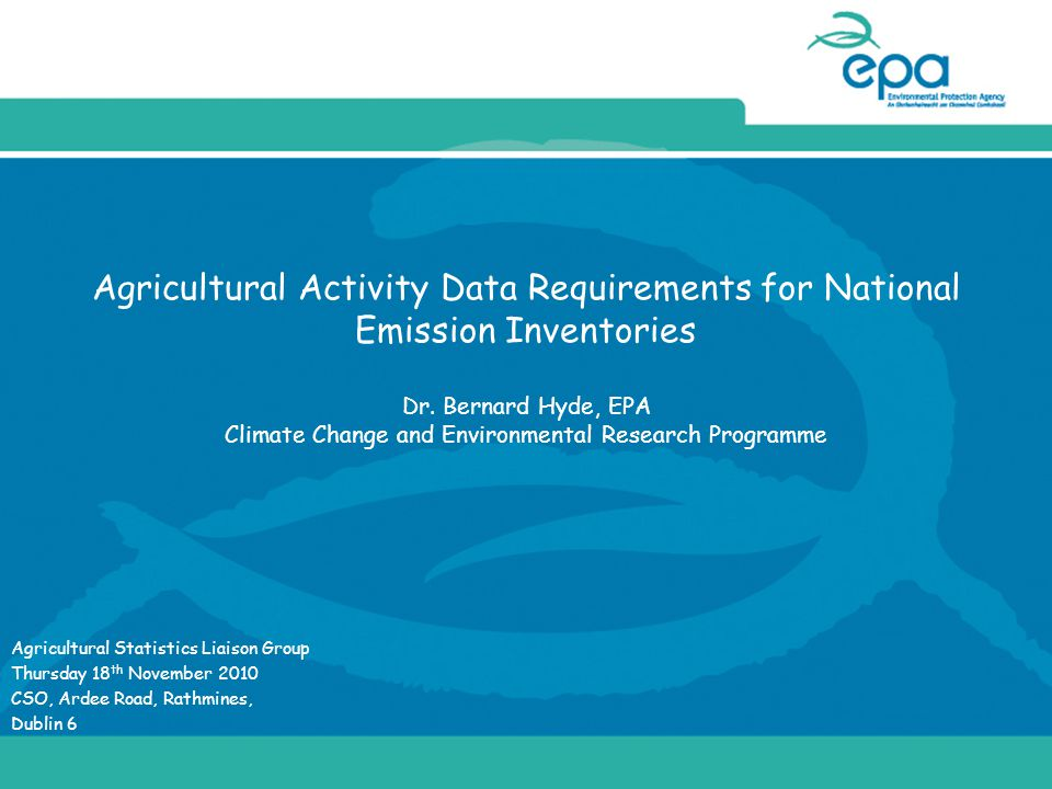 Agricultural Activity Data Requirements for National Emission Inventories Dr.