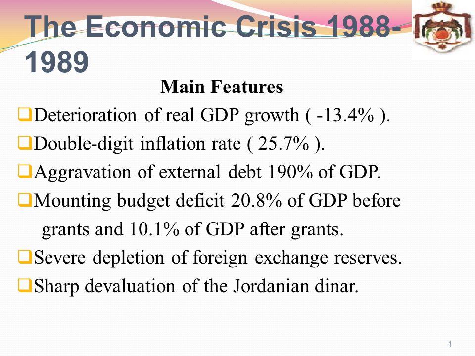 The Economic Crisis 1988-1989 5 Main Causes External Shocks Sharp fall in grants.