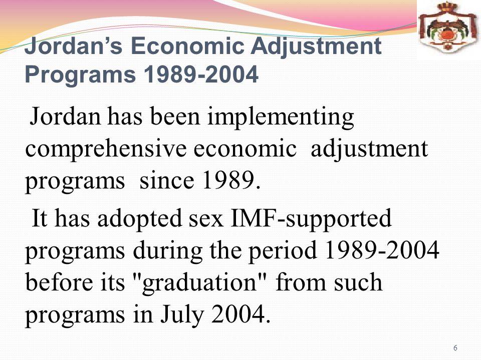 Jordans Economic Adjustment Programs 1989-2004 7 Major Pillars Attaining macroeconomic stabilization to effectively mange demand side in the Jordanian economy.