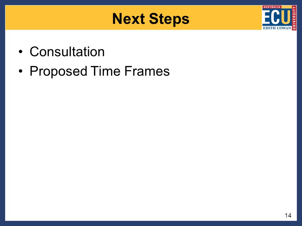 Next Steps Consultation Proposed Time Frames 14