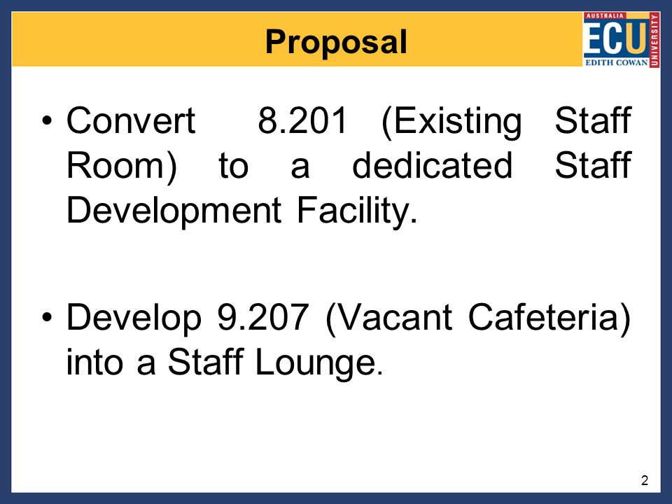 Proposal Convert 8.201 (Existing Staff Room) to a dedicated Staff Development Facility.