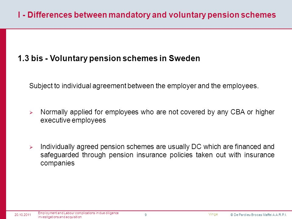 © De Pardieu Brocas Maffei A.A.R.P.I.9 1.3 bis - Voluntary pension schemes in Sweden Subject to individual agreement between the employer and the employees.