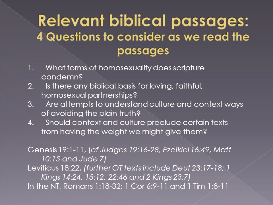 1. What forms of homosexuality does scripture condemn.