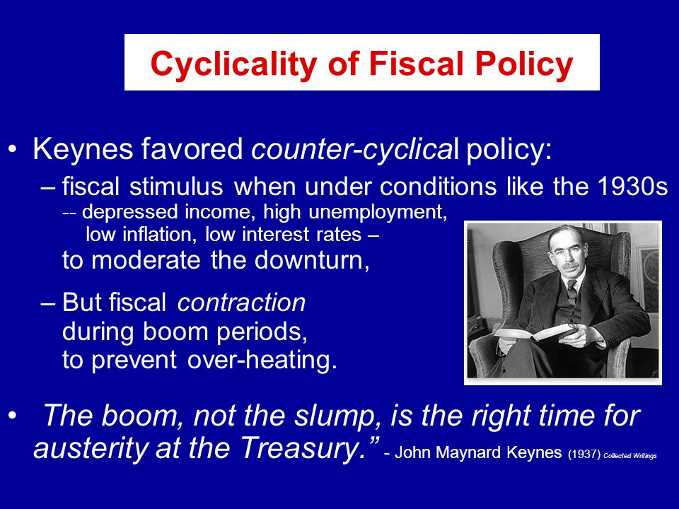 Cyclicality of Fiscal Policy Keynes favored counter-cyclical policy: –fiscal stimulus when under conditions like the 1930s -- depressed income, high unemployment, low inflation, low interest rates – to moderate the downturn, –But fiscal contraction during boom periods, to prevent over-heating.