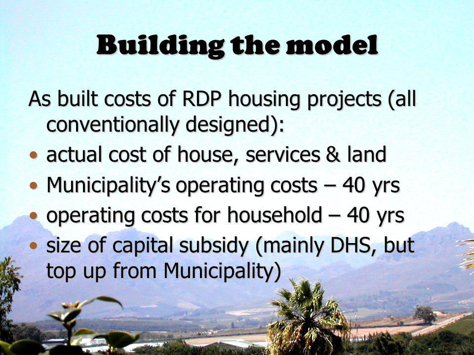 Building the model As built costs of RDP housing projects (all conventionally designed): actual cost of house, services & landactual cost of house, services & land Municipalitys operating costs – 40 yrsMunicipalitys operating costs – 40 yrs operating costs for household – 40 yrsoperating costs for household – 40 yrs size of capital subsidy (mainly DHS, but top up from Municipality)size of capital subsidy (mainly DHS, but top up from Municipality)