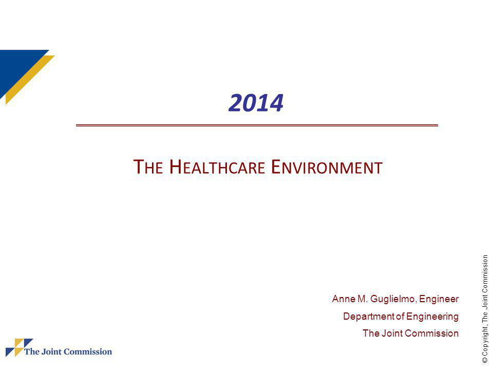 © Copyright, The Joint Commission 2014 T HE H EALTHCARE E NVIRONMENT Anne M.