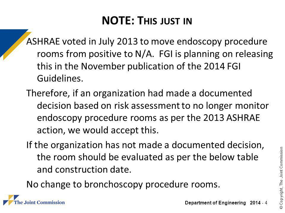 Department of Engineering 2014 - 5 © Copyright, The Joint Commission G UIDELINES V ENTILATION T ABLE : E NDOSCOPY & B RONCHOSCOPY E NDOSCOPY B RONCHOSCOPY Edition P ROCEDURE P ROCESSING (C LEANING )P ROCEDURE P RESSURE D IRECT E XHAUST P RESSURE D IRECT E XHAUST P RESSURE D IRECT E XHAUST 2014 (pending) N/A Negative (-) YES Negative (-) YES 2010 Positive (+) N/A Negative (-) YES Negative (-) YES 2006 Neutral N/A Negative (-) YES Negative (-) YES 2001 Negative (-) N/A Negative (-) YES 1996/1997 N/A Negative (-) YES 1992/1993 N/A 1987 N/A 1979 N/A