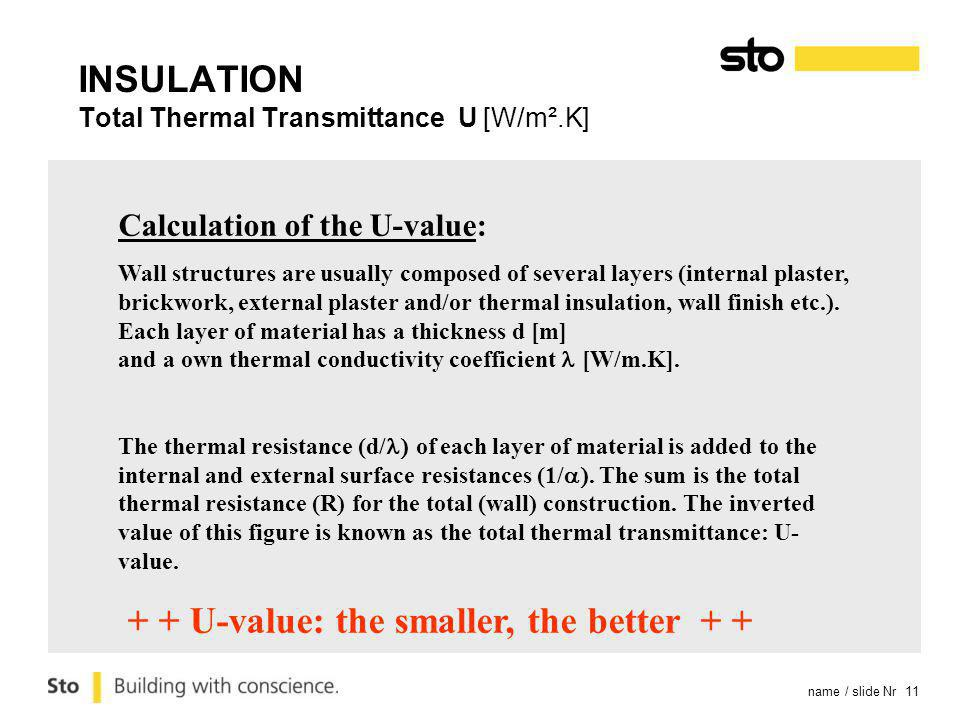 name / slide Nr 11 Calculation of the U-value: Wall structures are usually composed of several layers (internal plaster, brickwork, external plaster a