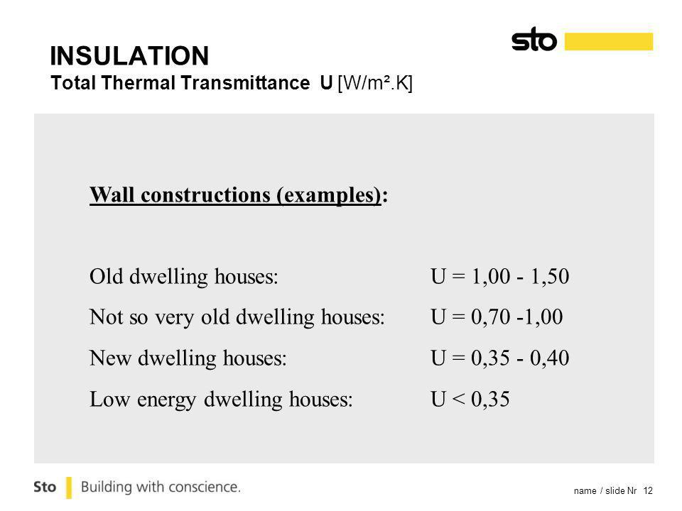 name / slide Nr 12 Wall constructions (examples): Old dwelling houses: U = 1,00 - 1,50 Not so very old dwelling houses: U = 0,70 -1,00 New dwelling ho