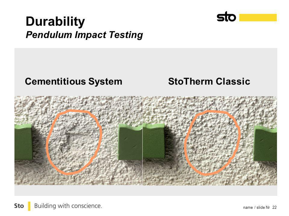 name / slide Nr 22 Cementitious SystemStoTherm Classic Durability Pendulum Impact Testing