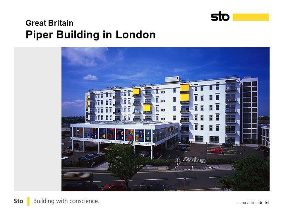 name / slide Nr 54 Great Britain Piper Building in London