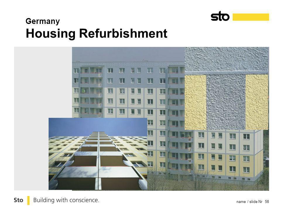 name / slide Nr 58 Germany Housing Refurbishment