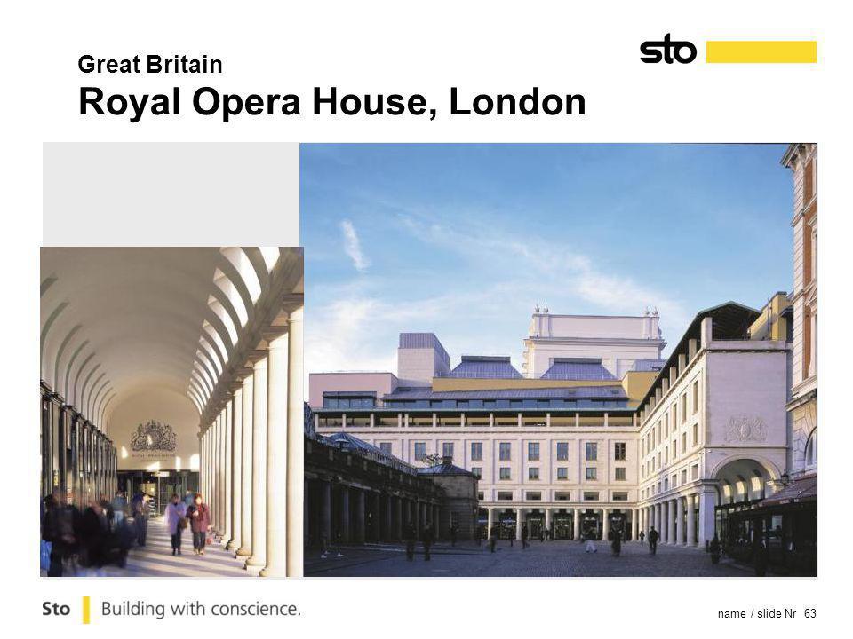 name / slide Nr 63 Great Britain Royal Opera House, London