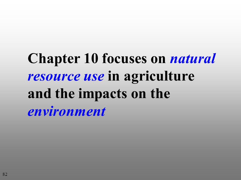 Chapter 10 focuses on natural resource use in agriculture and the impacts on the environment 82