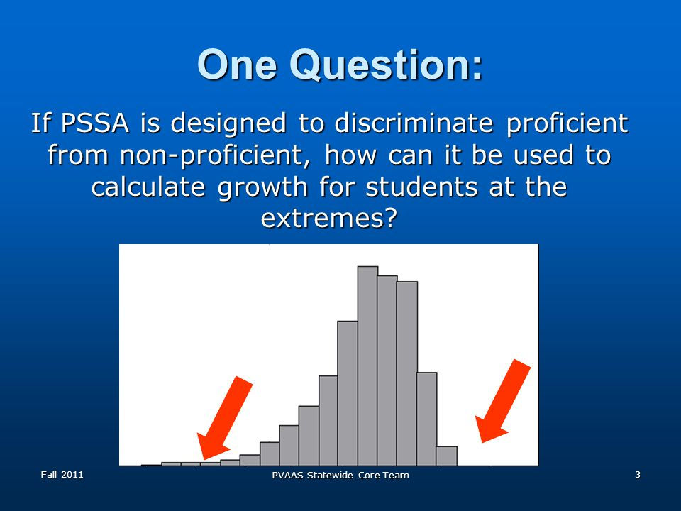 One Question: If PSSA is designed to discriminate proficient from non-proficient, how can it be used to calculate growth for students at the extremes.