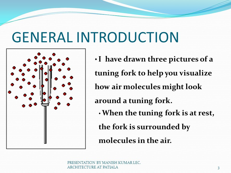 GENERAL INTRODUCTION I have drawn three pictures of a tuning fork to help you visualize how air molecules might look around a tuning fork. When the tu