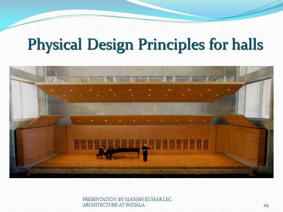 Physical Design Principles for halls 49 PRESENTATION BY MANISH KUMAR LEC. ARCHITECTURE AT PATIALA