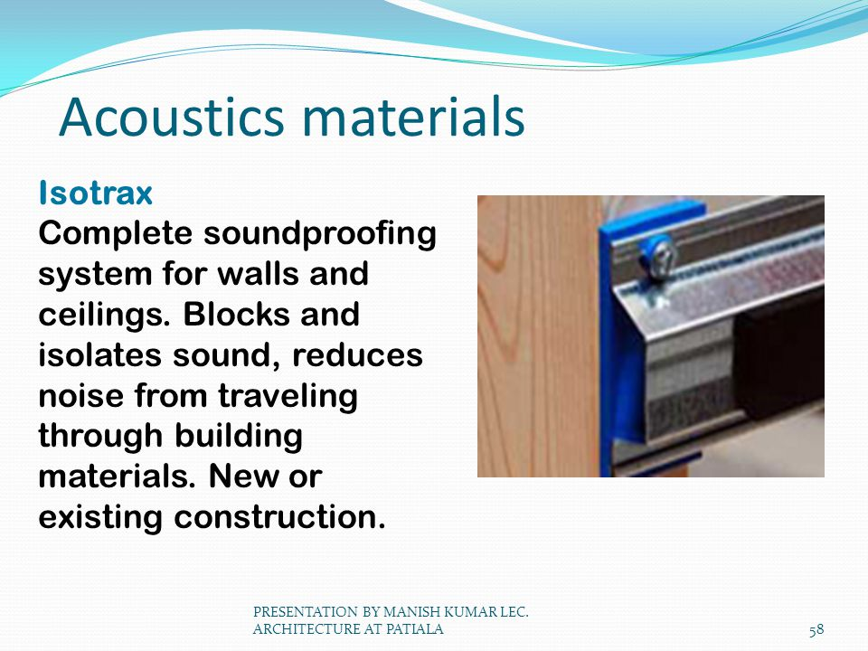 Acoustics materials Isotrax Complete soundproofing system for walls and ceilings. Blocks and isolates sound, reduces noise from traveling through buil