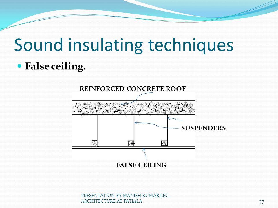 Sound insulating techniques False ceiling. REINFORCED CONCRETE ROOF SUSPENDERS FALSE CEILING 77 PRESENTATION BY MANISH KUMAR LEC. ARCHITECTURE AT PATI