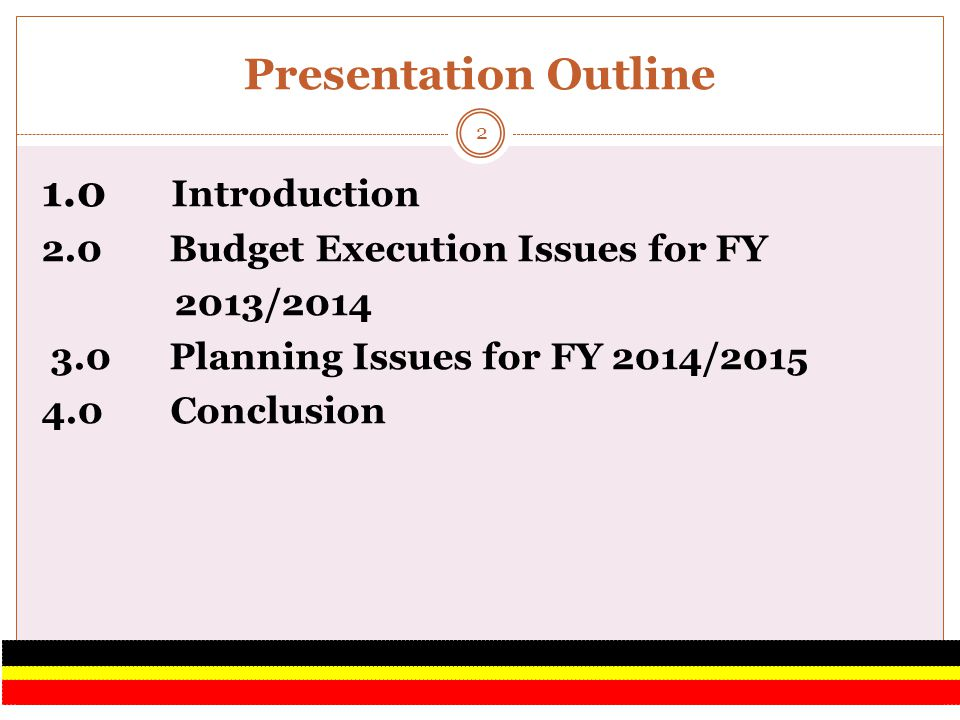 1.0 INTRODUCTION This Issues Paper highlights key Budget execution issues identified during FY 2013/2014 and budgeting issues that need to be taken into account as Accounting Officers prepare budgets for FY 2014/2015.