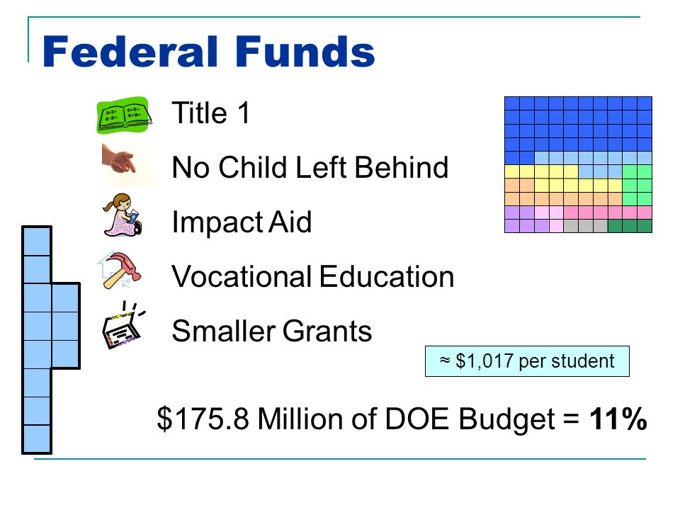 Federal Funds Title 1 No Child Left Behind Impact Aid Vocational Education Smaller Grants $175.8 Million of DOE Budget = 11% $1,017 per student