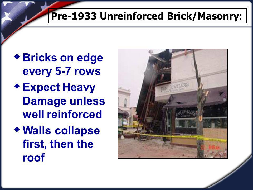 Bricks on edge every 5-7 rows Expect Heavy Damage unless well reinforced Walls collapse first, then the roof Pre-1933 Unreinforced Brick/Masonry: