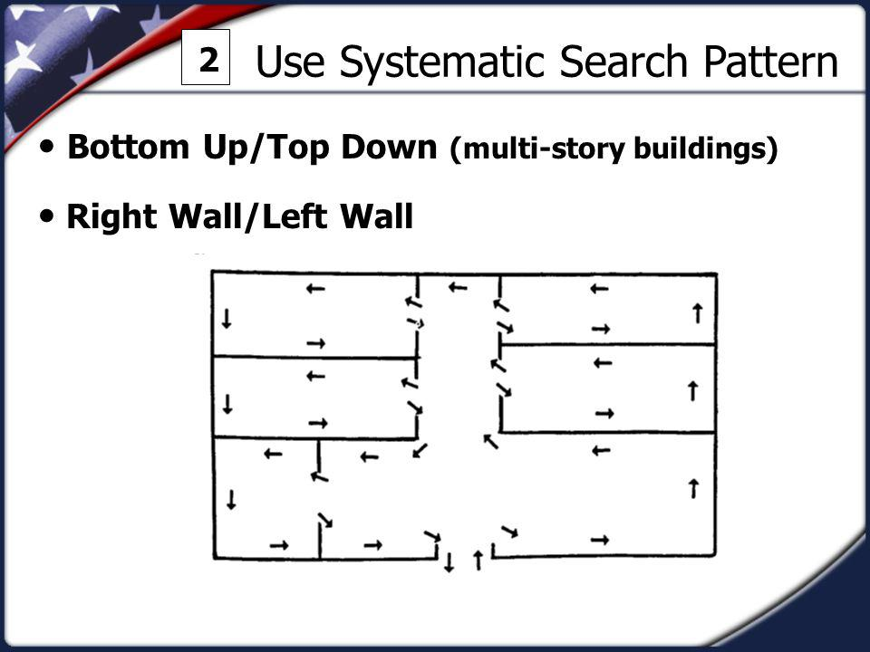Use Systematic Search Pattern 2 Bottom Up/Top Down (multi-story buildings) Right Wall/Left Wall
