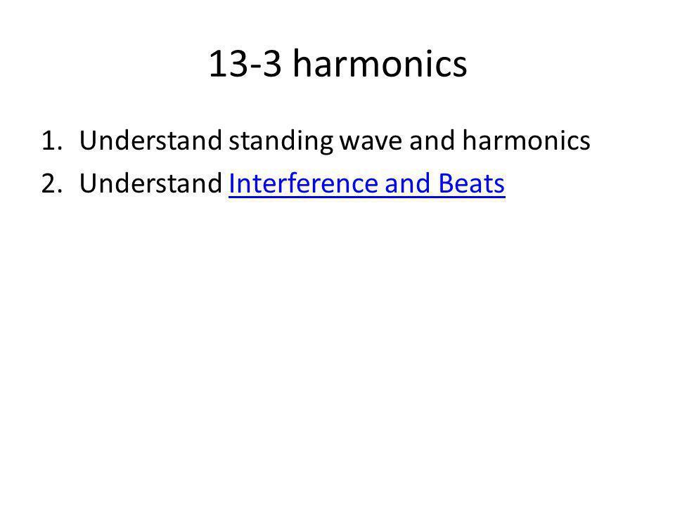 13-3 harmonics 1.Understand standing wave and harmonics 2.Understand Interference and BeatsInterference and Beats