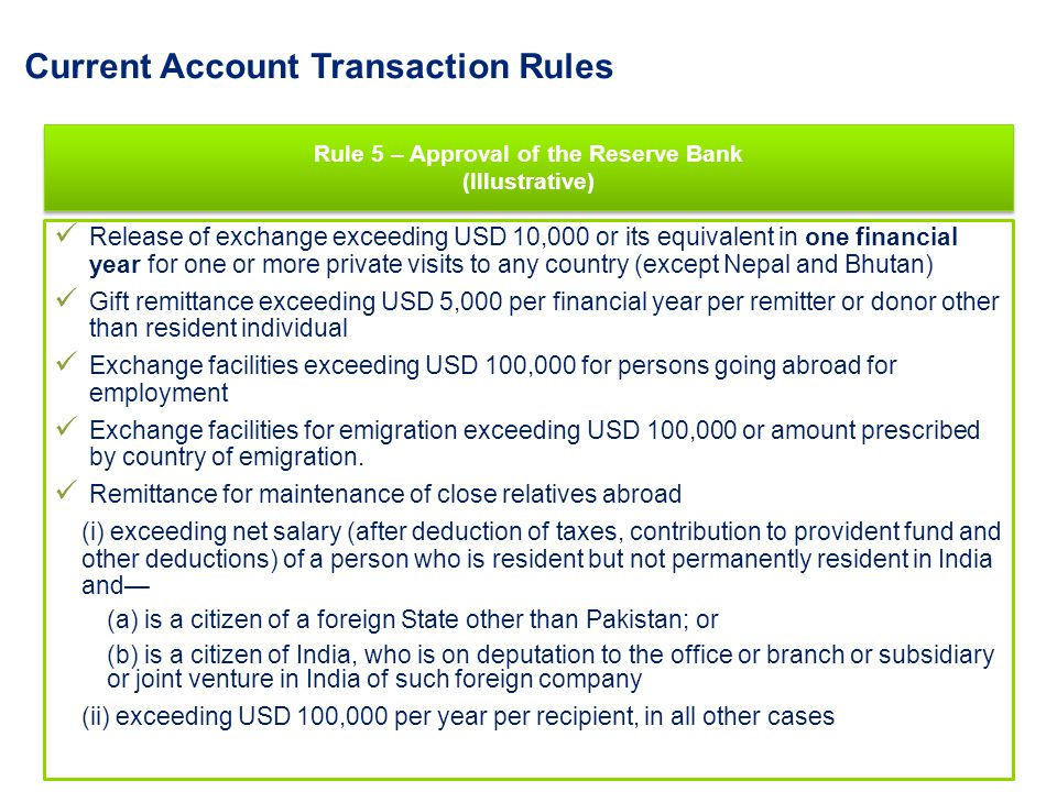 Current Account Transaction Rules Rule 5 – Approval of the Reserve Bank (Illustrative) Rule 5 – Approval of the Reserve Bank (Illustrative) Release of