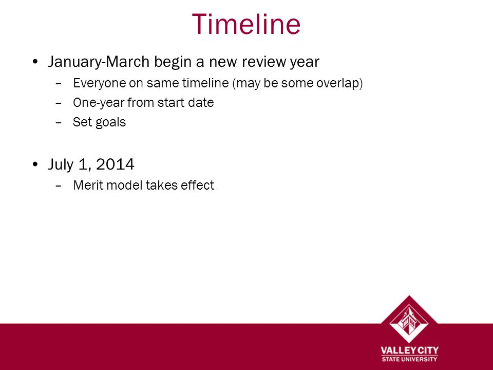 January-March begin a new review year –Everyone on same timeline (may be some overlap) –One-year from start date –Set goals July 1, 2014 –Merit model takes effect