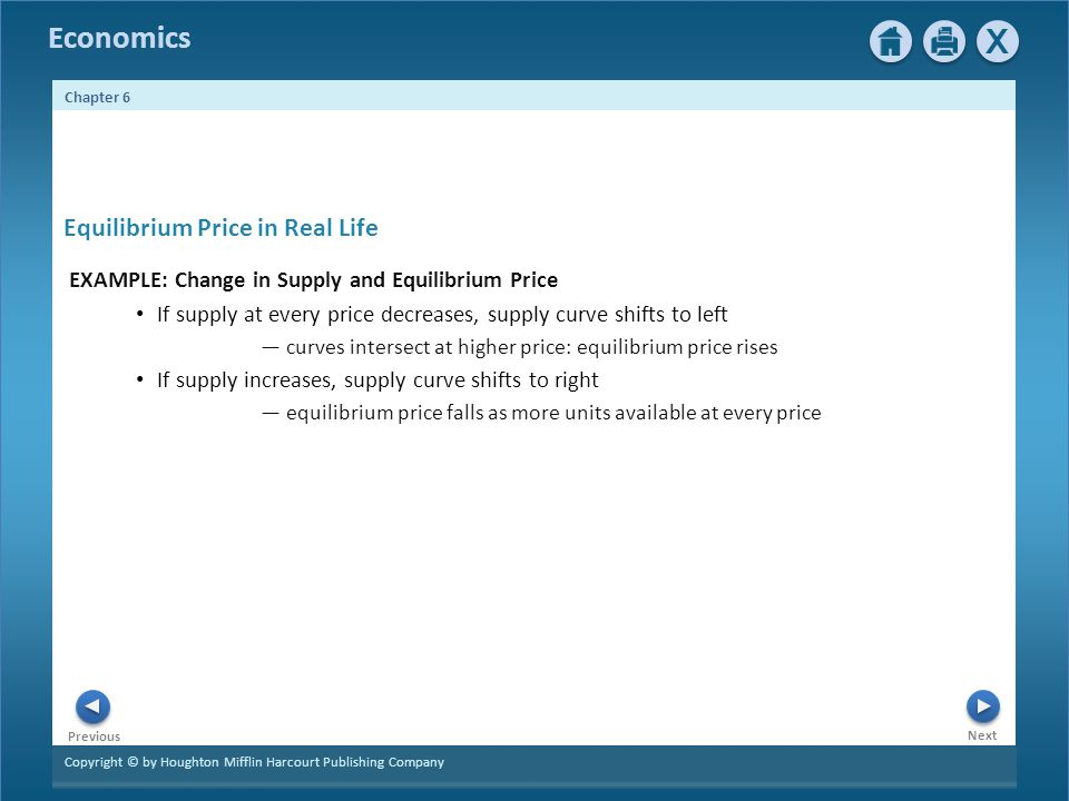 Copyright © by Houghton Mifflin Harcourt Publishing Company Next Previous Economics Chapter 6 Equilibrium Price in Real Life EXAMPLE: Change in Supply and Equilibrium Price If supply at every price decreases, supply curve shifts to left curves intersect at higher price: equilibrium price rises If supply increases, supply curve shifts to right equilibrium price falls as more units available at every price