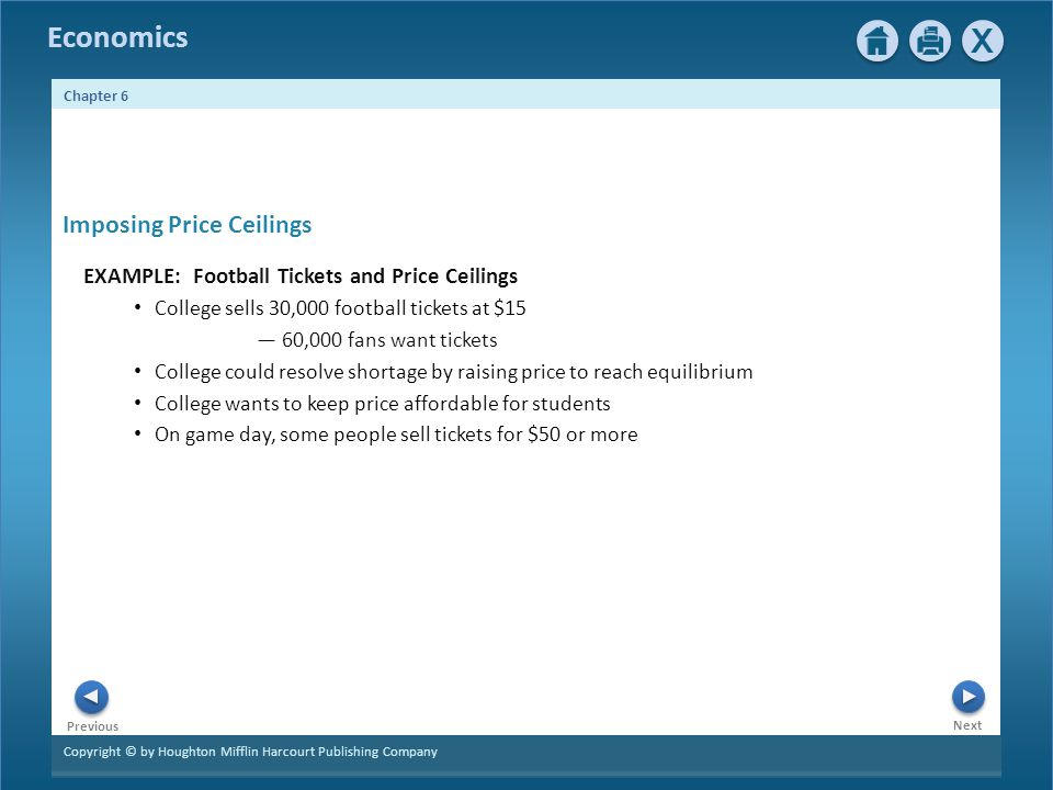 Copyright © by Houghton Mifflin Harcourt Publishing Company Next Previous Economics Chapter 6 Imposing Price Ceilings EXAMPLE: Football Tickets and Price Ceilings College sells 30,000 football tickets at $15 60,000 fans want tickets College could resolve shortage by raising price to reach equilibrium College wants to keep price affordable for students On game day, some people sell tickets for $50 or more