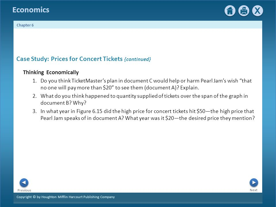 Copyright © by Houghton Mifflin Harcourt Publishing Company Next Previous Economics Chapter 6 Case Study: Prices for Concert Tickets {continued} Thinking Economically 1.Do you think TicketMasters plan in document C would help or harm Pearl Jams wish that no one will pay more than $20 to see them (document A).