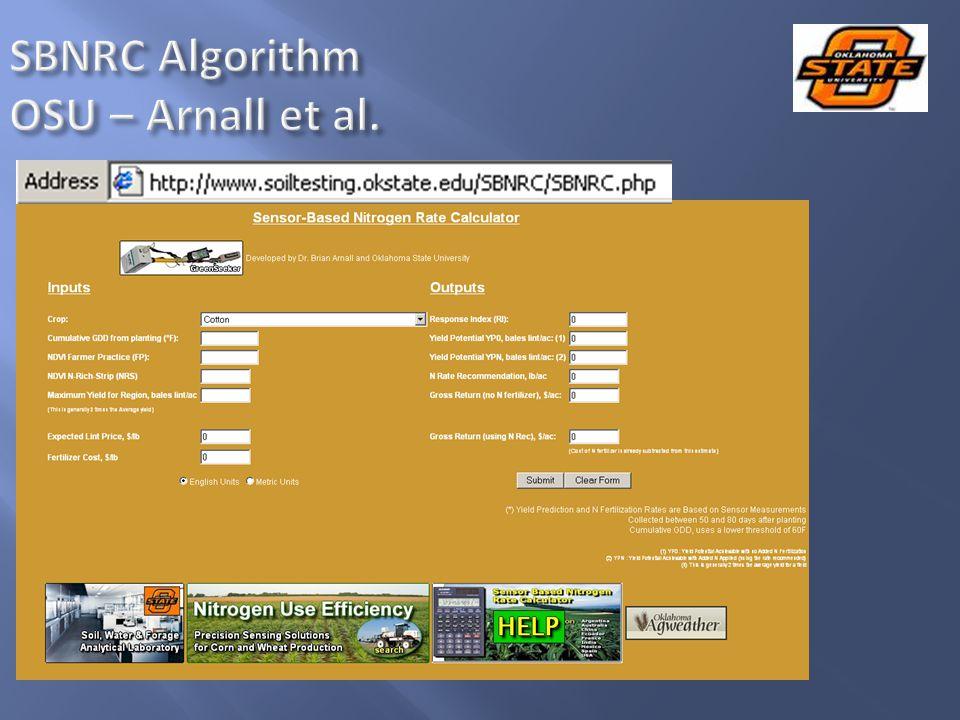 SBNRC Algorithm OSU – Arnall et al.