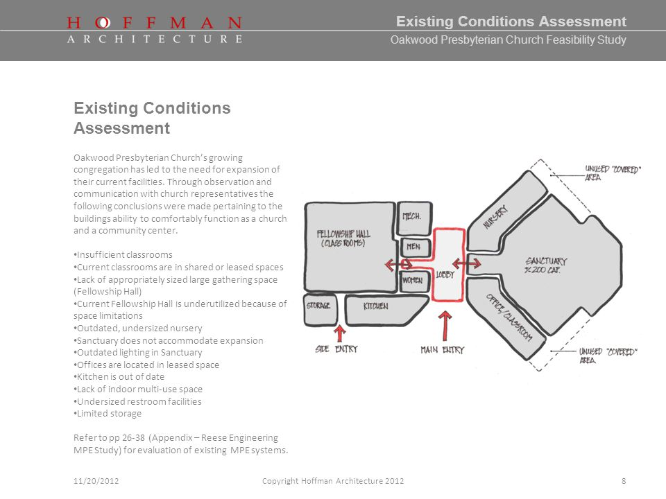 Oakwood Presbyterian Church Feasibility Study Existing Conditions Assessment Copyright Hoffman Architecture 201211/20/2012 Existing Conditions Assessment Oakwood Presbyterian Churchs growing congregation has led to the need for expansion of their current facilities.