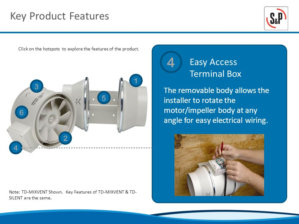 Key Product Features Easy Access Terminal Box Click on the hotspots to explore the features of the product.