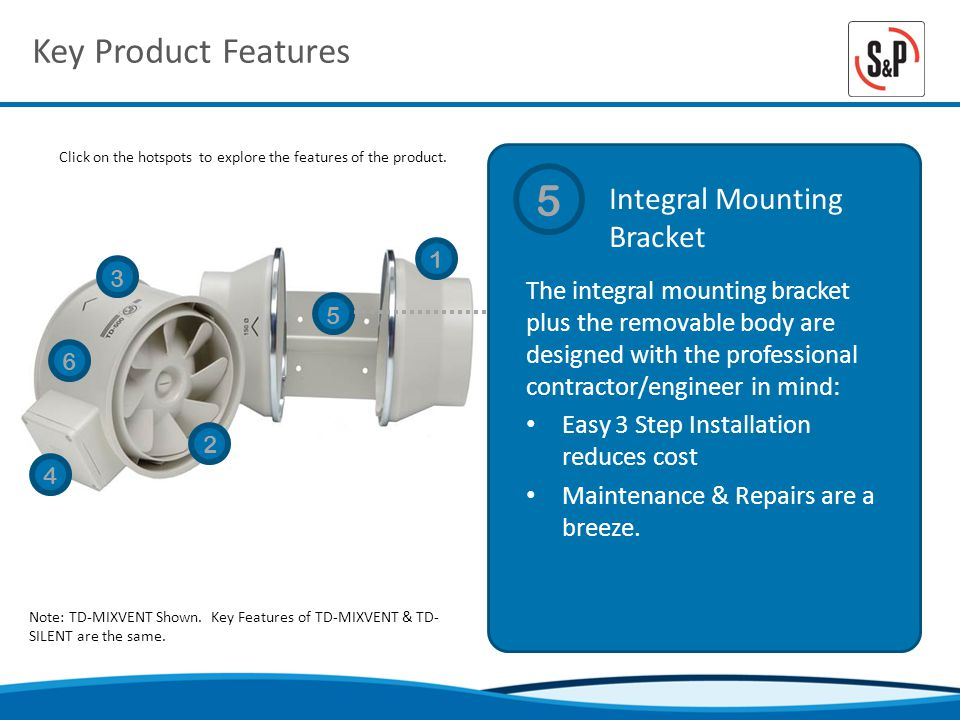Key Product Features Integral Mounting Bracket Click on the hotspots to explore the features of the product.