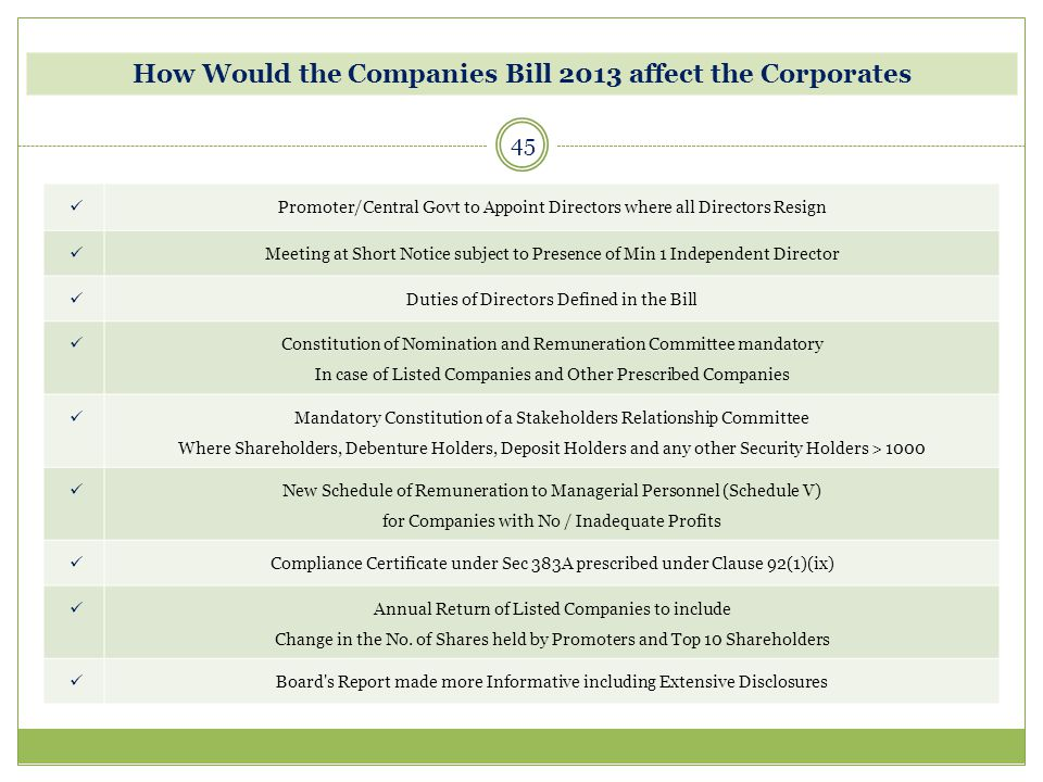 45 How Would the Companies Bill 2013 affect the Corporates Promoter/Central Govt to Appoint Directors where all Directors Resign Meeting at Short Noti