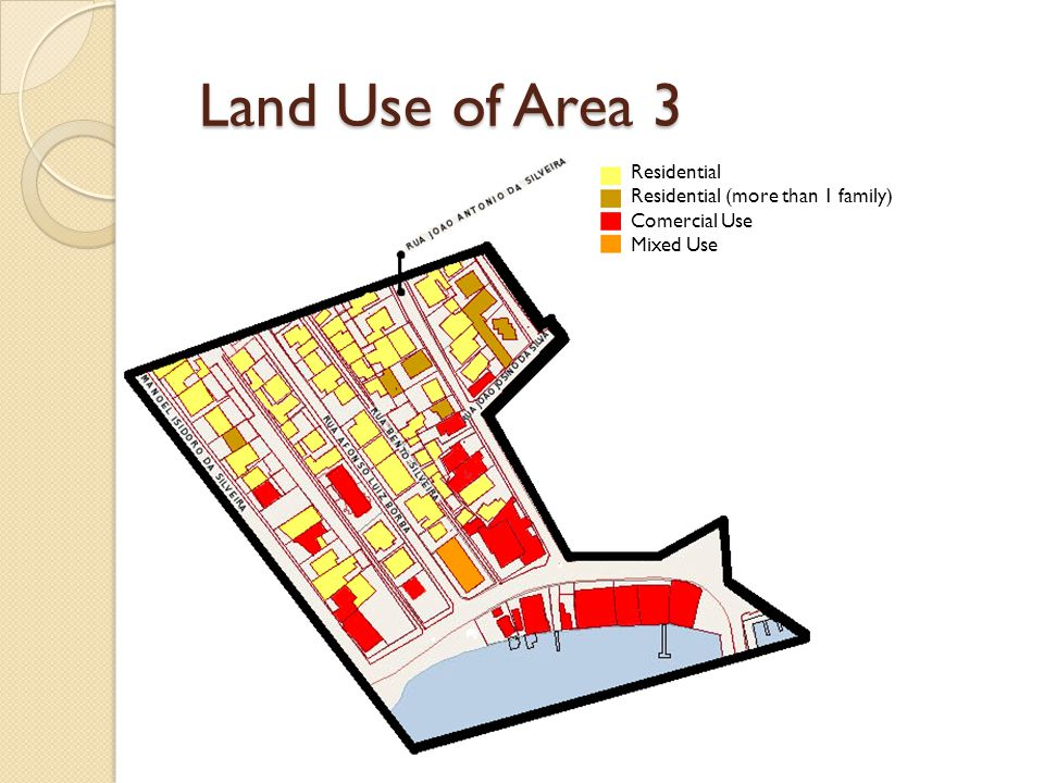 Land Use of Area 3 Residential Residential (more than 1 family) Comercial Use Mixed Use