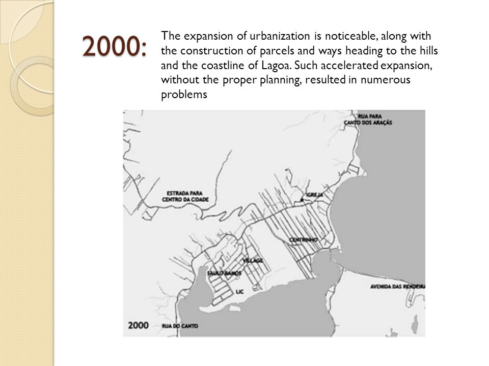 2000: The expansion of urbanization is noticeable, along with the construction of parcels and ways heading to the hills and the coastline of Lagoa.