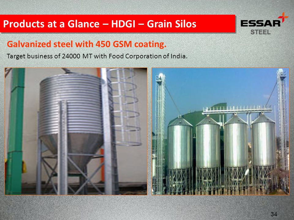Products at a Glance – HDGI – Grain Silos Galvanized steel with 450 GSM coating. Target business of 24000 MT with Food Corporation of India. 34