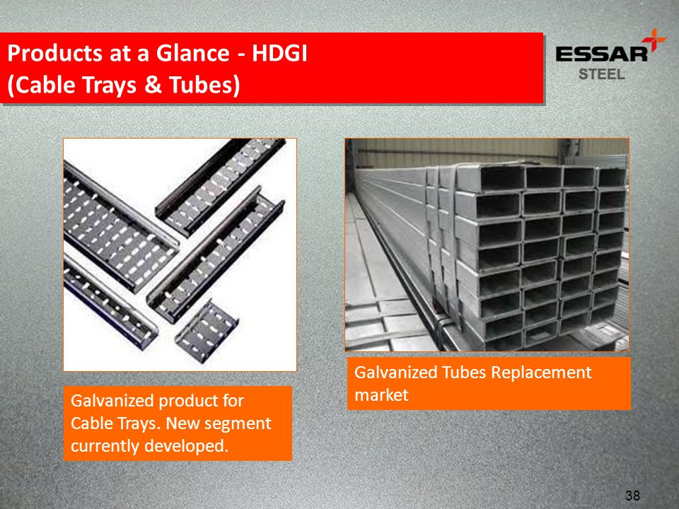 Galvanized product for Cable Trays. New segment currently developed. Galvanized Tubes Replacement market Products at a Glance - HDGI (Cable Trays & Tu