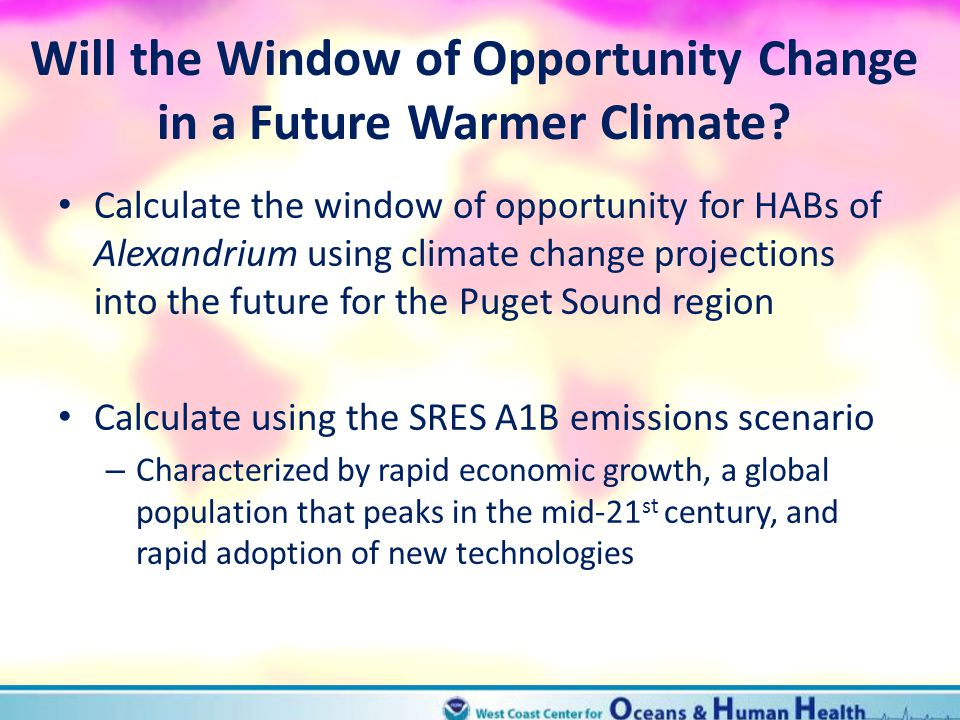 Will the Window of Opportunity Change in a Future Warmer Climate? Calculate the window of opportunity for HABs of Alexandrium using climate change pro