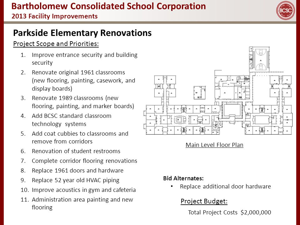 Bartholomew Consolidated School Corporation 2013 Facility Improvements Parkside Elementary Renovations Main Level Floor Plan Project Scope and Priorit